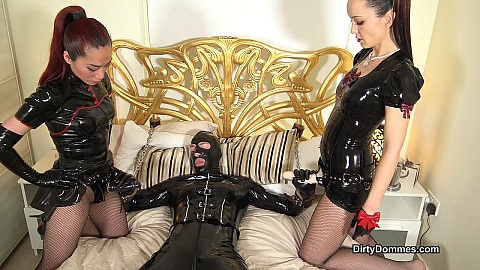 Rubber slut blowjob training